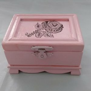 Mini Junk Journal Pink Wood Box Roses